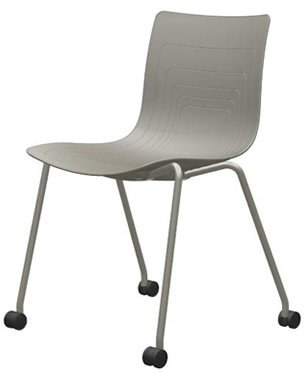 5W-1C-PP - Four legs chair with casters